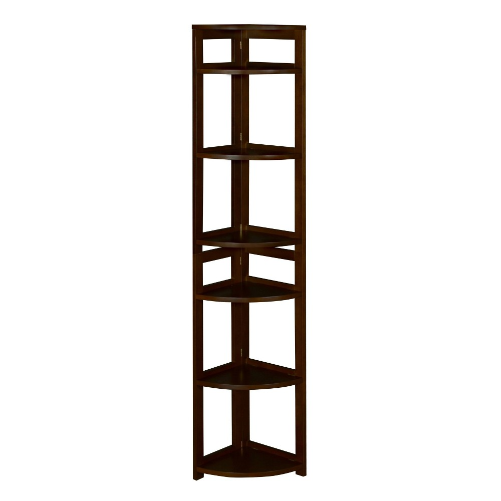 67 Cakewalk High Corner Folding Bookcase Mocha Walnut - Regency