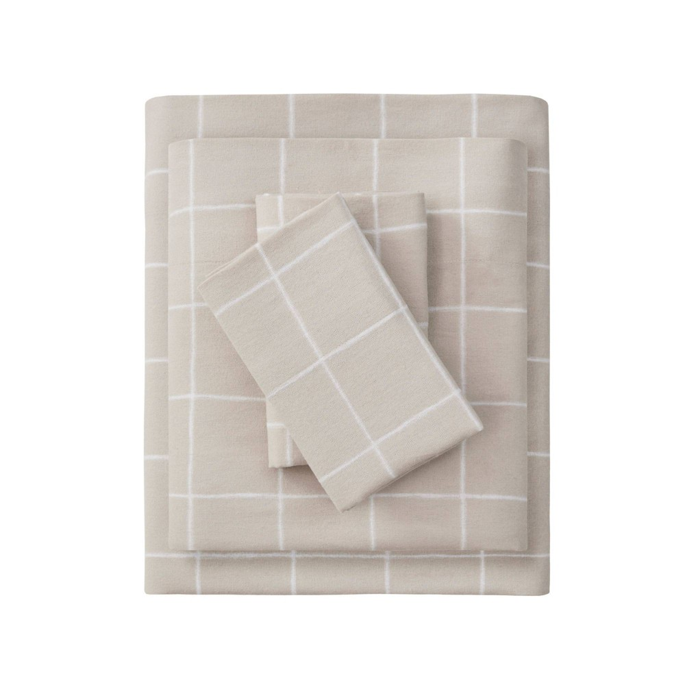 Full Patterned Oversize Flannel Sheet Set Beige Windowpane Beautyrest