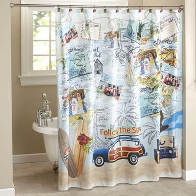 Lakeside Huntington Beach Bathroom Shower Curtain with 12-Ring Grommet Top