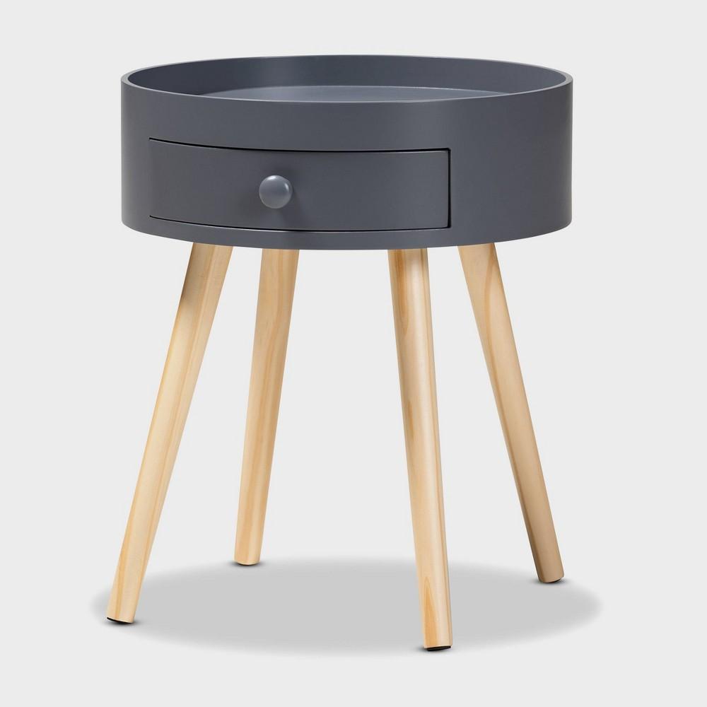 Image of 1 Drawer Jessen Wood Nightstand Gray - Baxton Studio