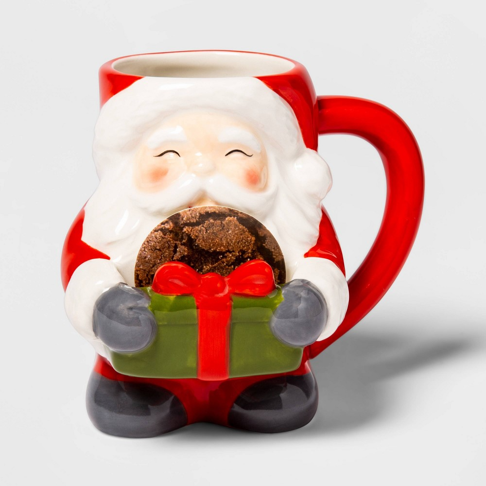 Image of 13oz Earthenware Santa Cookie Mug Red - Threshold