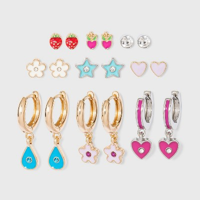 Strawberry and Star Enamel Studs Multi Earring Set 9pc - Wild Fable™