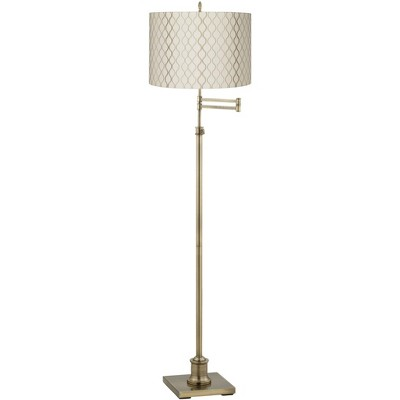 360 Lighting Swing Arm Floor Lamp Adjustable Height Antique Brass Off White Embroidered Hourglass Fabric Drum Shade Living Room