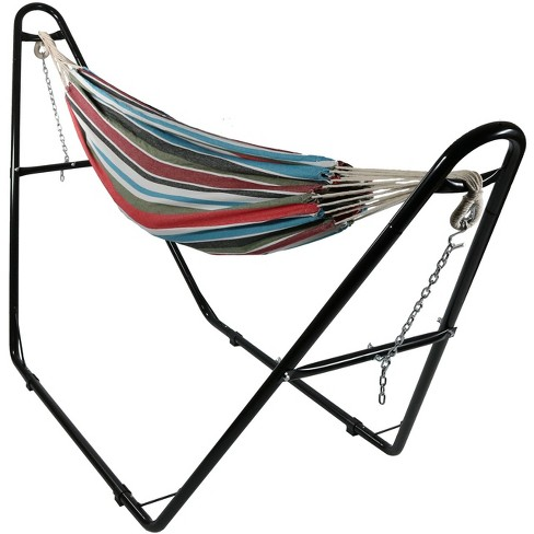 Cool Breeze Large Brazilian Hammock with Universal Stand - Red/Blue/Green - Sunnydaze Decor - image 1 of 4