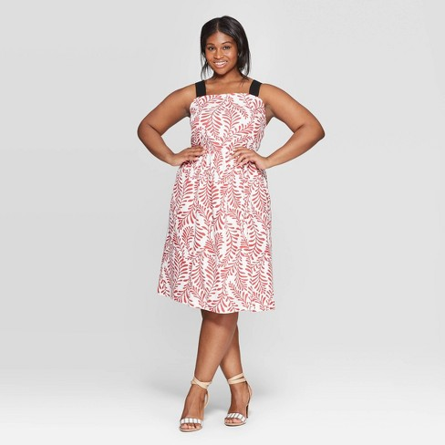 030e48af429d6 Women's Plus Size Leaf Print Off The Shoulder Contrast Strap Midi Dress -  Who What Wear™ Red/White : Target