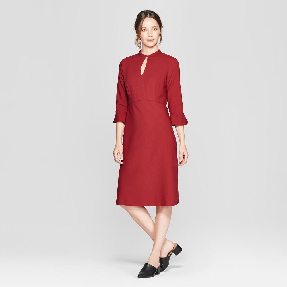 Women's 3/4 Flutter Sleeve Midi Dress - Prologue Red 14