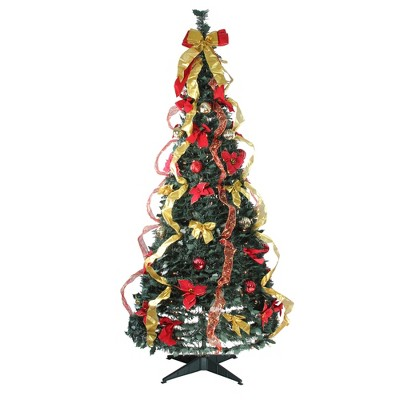 Northlight 6' Prelit Artificial Christmas Tree Gold and Red Decorated Pop-Up - Clear Lights