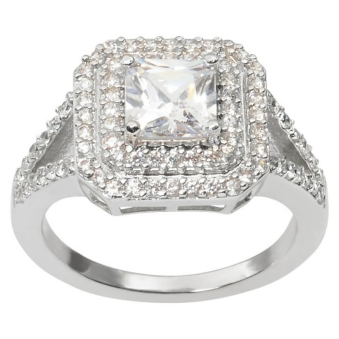 1 4/5 CT. T.W. Journee Collection Princess Cut CZ Basket Set Bridal Ring in Brass - Silver - image 1 of 2