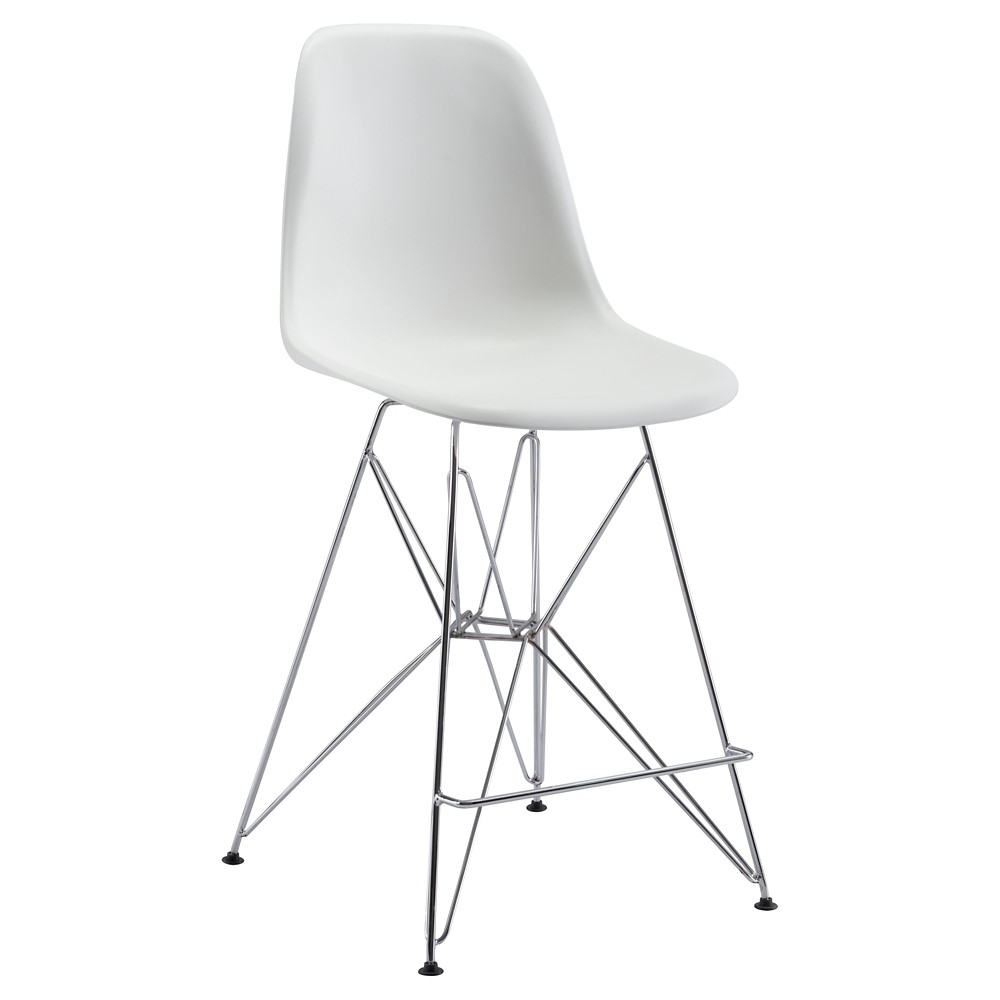 24 Mid-Century Modern Counter Chair - White - ZM Home