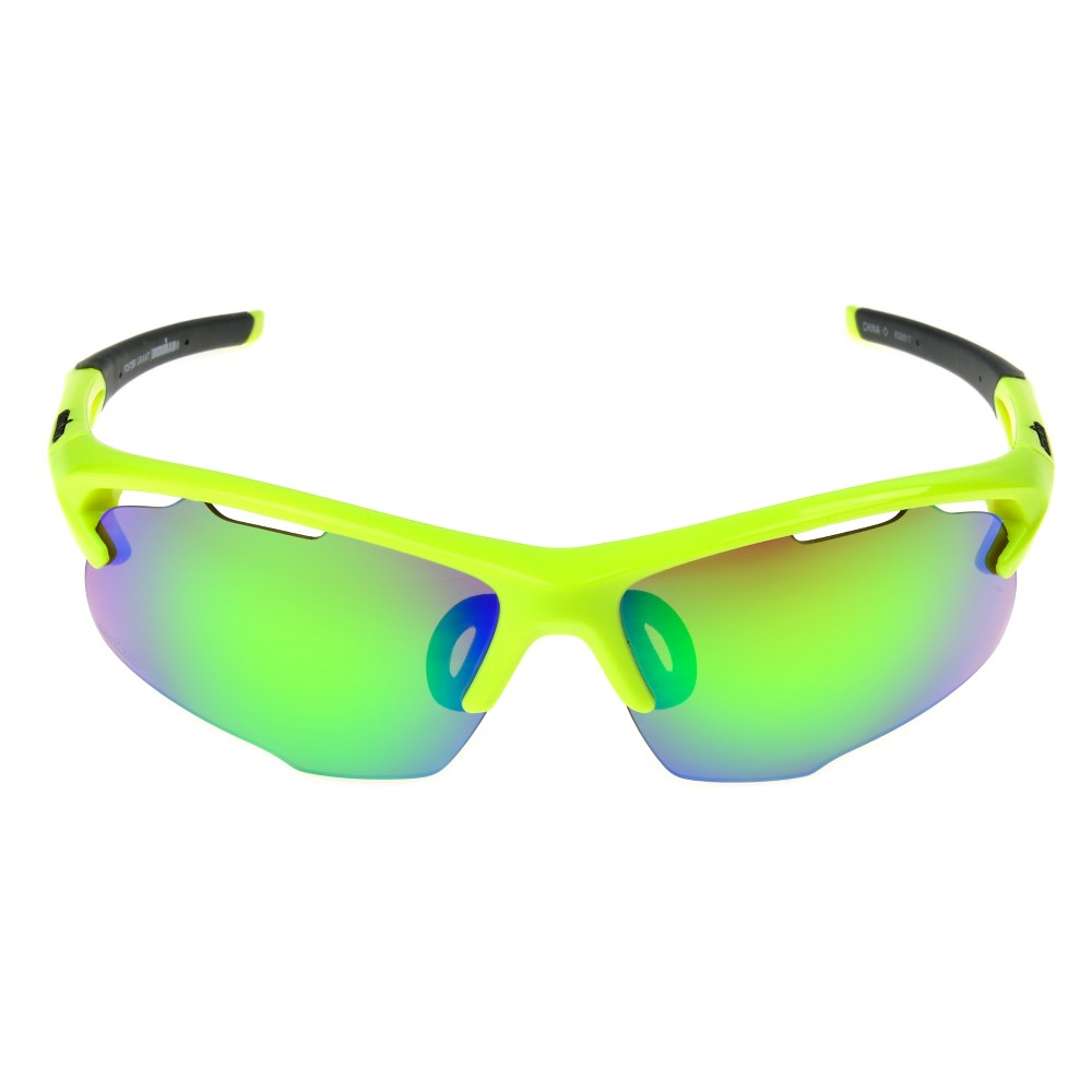 Image of Men's Ironman Ironflex Polarized Semi-Rimless Wrap Sunglasses - Yellow, Size: Small