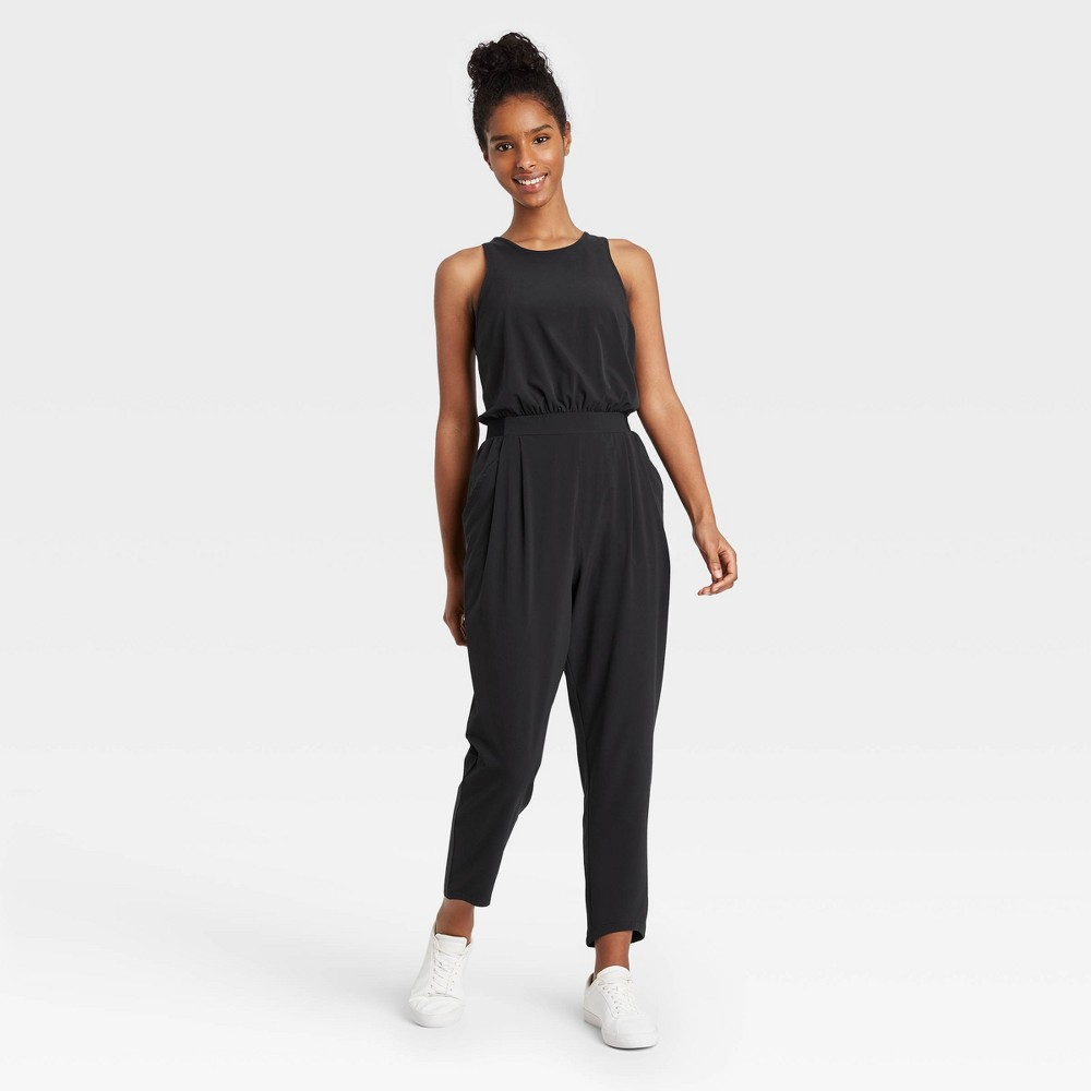 Women 39 S Stretch Woven Sleeveless Jumpsuit All In Motion 8482 Black Xl