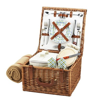 Picnic at Ascot Cheshire English- Style Willow Picnic Basket with Service for 2 and Blanket - Gazebo