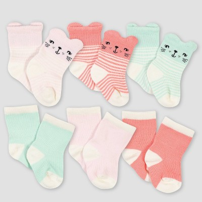 Gerber Baby Girls' 6pk Rainbow Jersey Wiggle Proof Socks - Green 0-6M