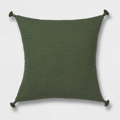 Euro Soft Texture Tasseled Throw Pillow Olive - Project 62™