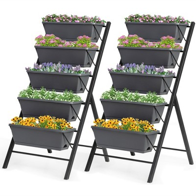 Costway Set of 2 4 FT Vertical Raised Garden Bed 5-Tier Planter Box for Patio Balcony