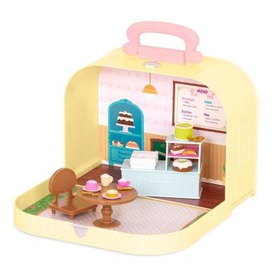 Li'l Woodzeez Toy Furniture Set in Carry Case 20pc - Travel Suitcase Pastry Shop Playset