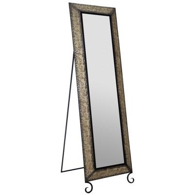 20 x66  Antique Bronze Embossed Metal Standing Full Length Mirror Black - Gallery Solutions