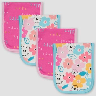 Gerber Baby Girls' 4pk Bear Burp Cloth - Pink/White