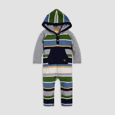 Burt's Bees Baby® Baby Boys' Oversized Multi Stripe Hooded Organic Cotton Jumpsuit - Blue/Gray/Green 0-3M