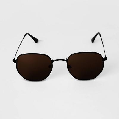 Men's Angular Round Metal Sunglasses - Goodfellow & Co™ Black