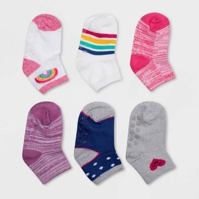 Baby Girls' 6pk Super Soft Hearts Rainbow Low Cut Socks - Cat & Jack™ 6-12M