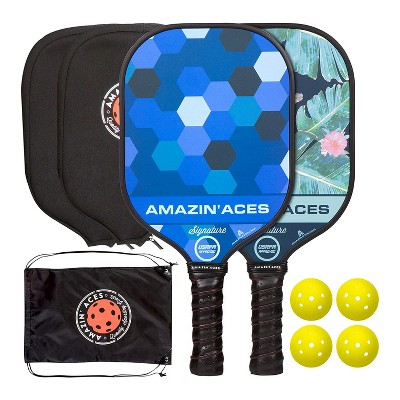Amazin Aces Signature Pickleball Set with 2 Graphite Face Paddles, 4 Balls, Paddle Covers, and Carry Bag, Blue and Green