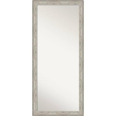 """29"""" x 65"""" Crackled Framed Full Length Floor/Leaner Mirror Metallic - Amanti Art"""