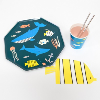 Meri Meri - Under the Sea Party Supplies Collection (Plate, Napkin, Cup) - Set of 8