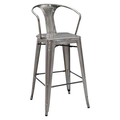 Amelia Café Barstool with Back - Galvanized Metal (Set of 2) - Crosley - image 1 of 4