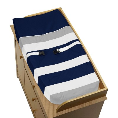 Sweet Jojo Designs Changing Pad Cover - Navy/Gray Stripe