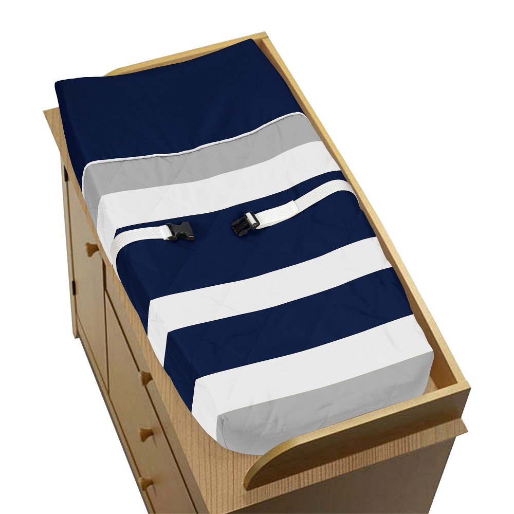Sweet Jojo Designs Changing Pad Cover - Navy (Blue)/Gray Stripe