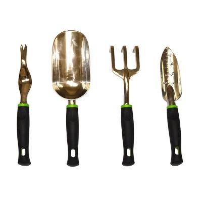 4pc Heavy Duty Aluminum Cast Garden Tools Set w/ Soft Grip Handle- Black - G & F Products
