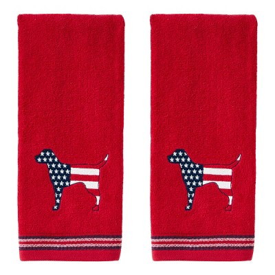 2pc Hound Hand Towel Set Red - SKL Home