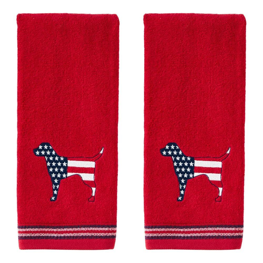Image of 2pc Hound Hand Towel Set Red - SKL Home