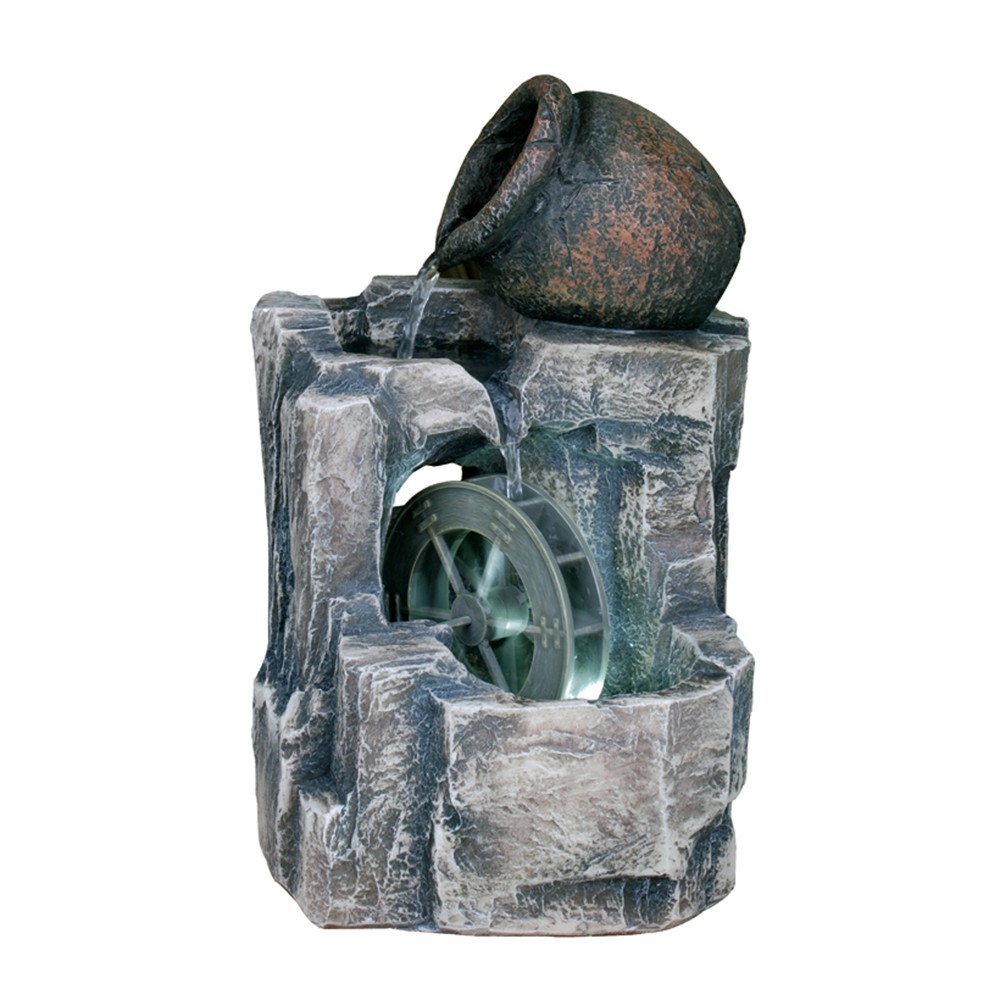 "Image of ""11.5"""" H Resin Outdoor Fountain - Brown - Ore International, Brown Gray"""