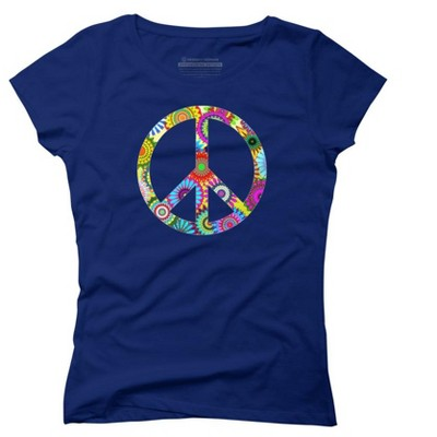 Cool Retro Flowers Peace Sign Juniors Graphic T-Shirt - Design By Humans