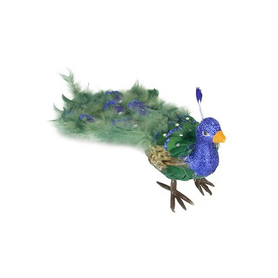 """Northlight 19"""" Peacock Bird with Closed Tail Feathers Christmas Ornament - Green"""
