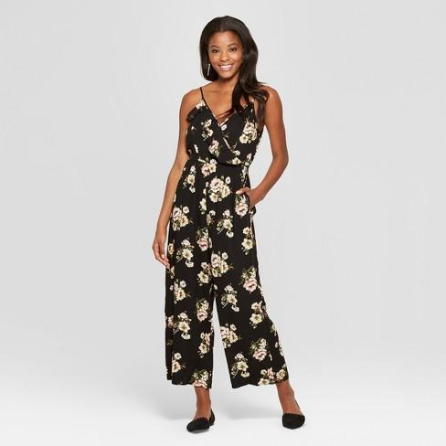 3c6f5c5c850e Women s Floral Print Strappy Ruffle Wrap Jumpsuit - Xhilaration ...