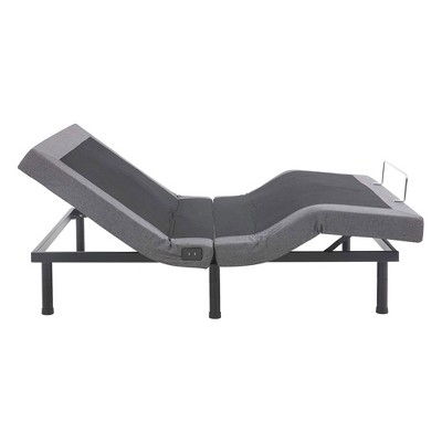 Classic Brands Adjustable Upholstered Comfort Bed Base with 3 Adjustable Leg Heights, Head and Foot Massage, 2 USB Ports, and Wireless Remote, Full