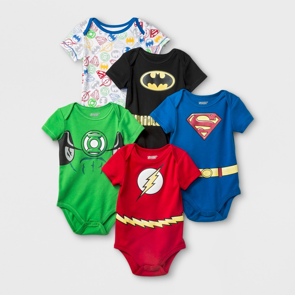 Image of Baby Boys' 5pk DC Comics Justice League Bodysuit - Blue/Red 18M, Boy's, MultiColored