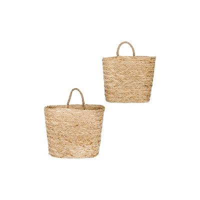 Set of 2 Decorative Handwoven Seagrass Wall Baskets Beige - 3R Studios