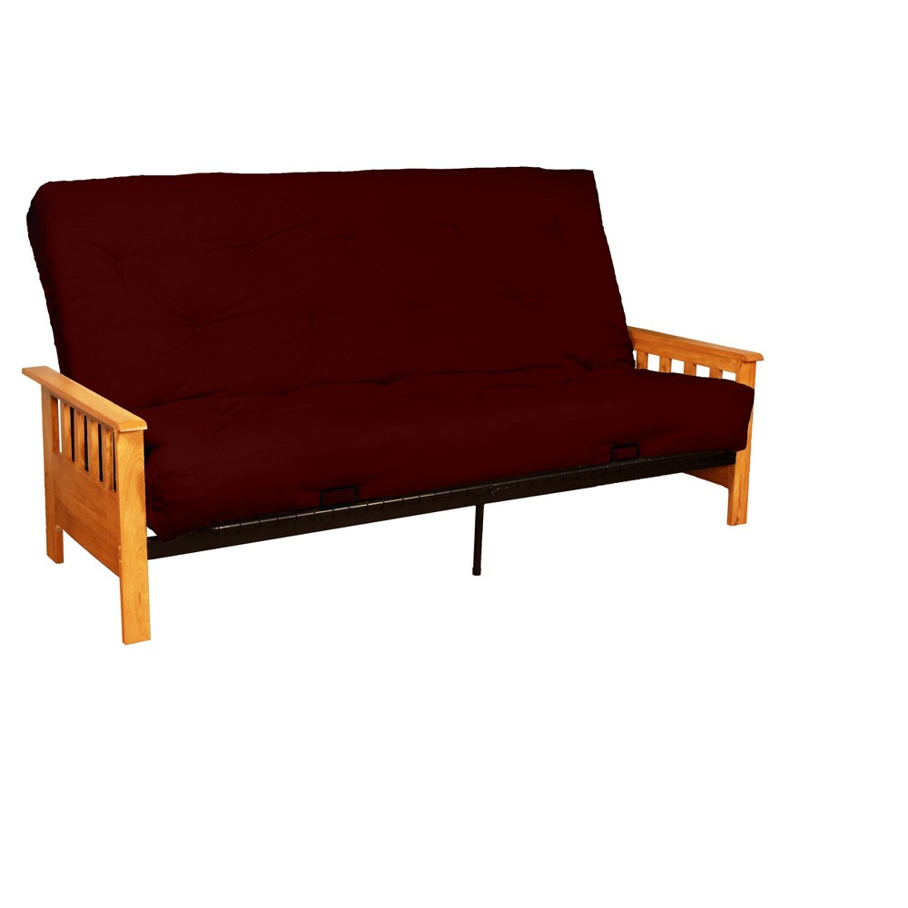 8 Mission Inner Spring Futon Sofa Sleeper Natural Wood Finish Crimson (Red) - Epic Furnishings