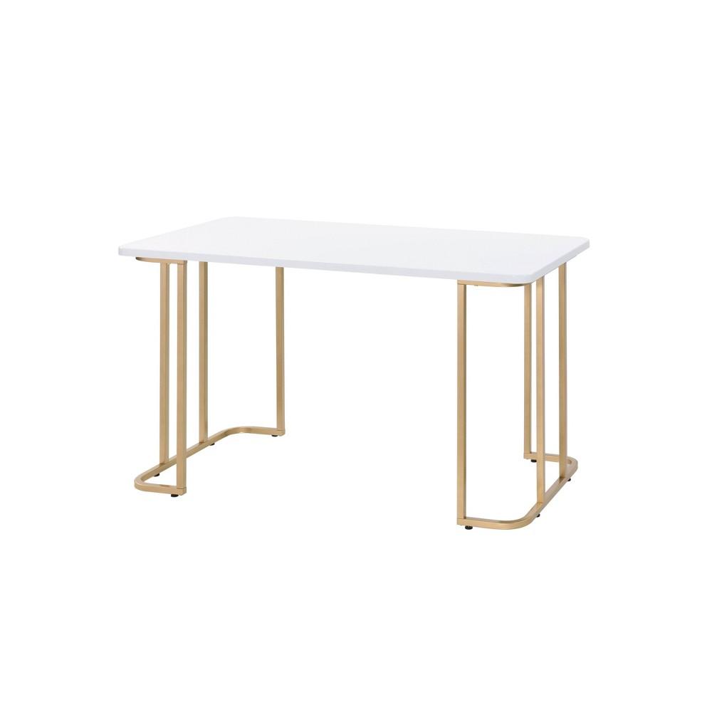 Estie Writing Desk White Gold Acme Furniture