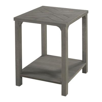18  Wood Chevron Side Table Gray - Saracina Home