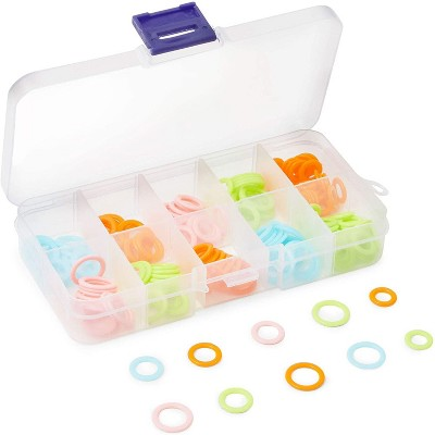180 Pieces Knitting Stitch Marker Rings with Clear Storage Box for Knitting, Crochet in 3 Size and 4 Colors
