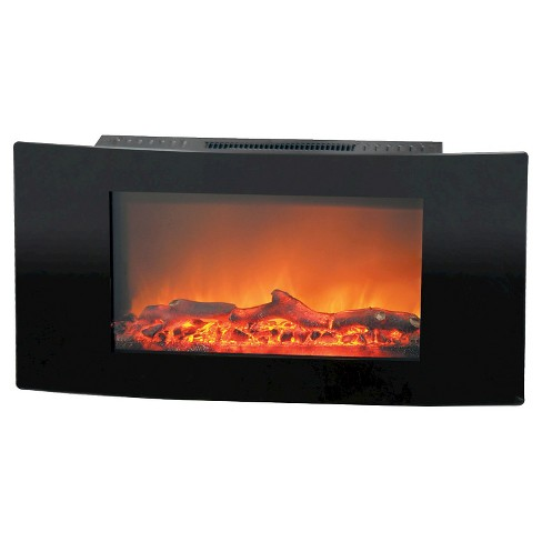 Cambridge CAM35WMEF-2BLK Callisto 35 In. Wall-Mount Electronic Fireplace with Curved Panel and Realistic Logs - image 1 of 2
