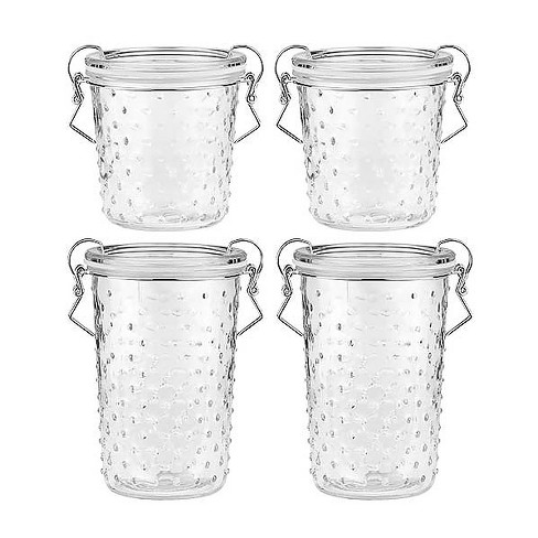 Amici Home 18 & 28 oz Set of 4 Gemma Glass Storage Canisters Clear Hobnail - image 1 of 4