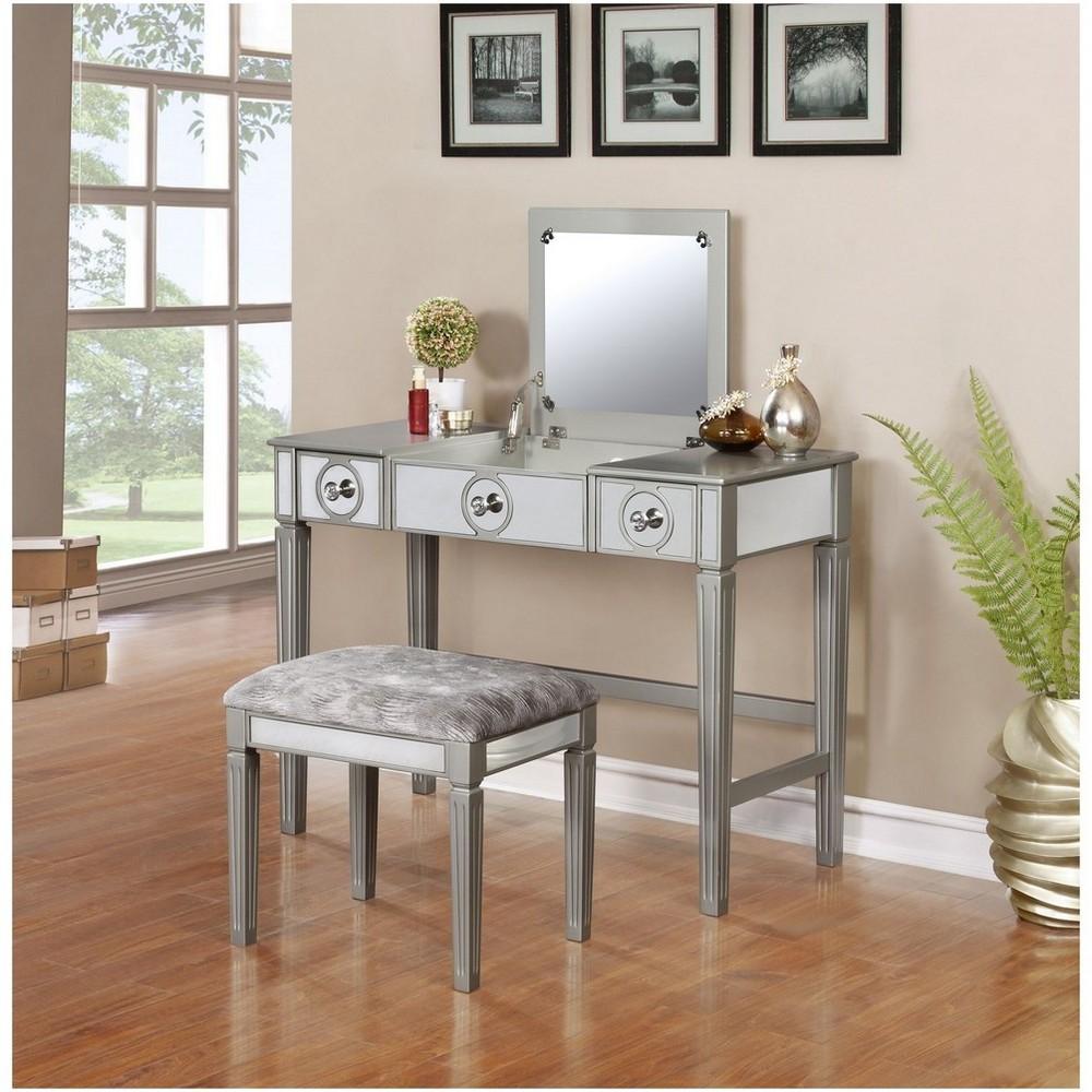 Madison Silver Vanity Set Silver - Linon