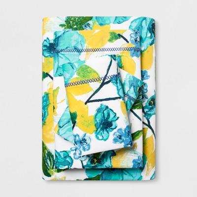 Cotton Percale Print Sheet Set (Queen)Blue Floral - Opalhouse™
