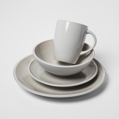 Portel Stoneware 16pc Dinnerware Set Light Gray - Project 62™